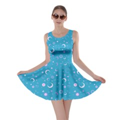 Turquoise Fun Night Sky The Moon And Stars Skater Dress