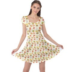 Yellow Pattern Of Basic Math Symbols Pattern Cap Sleeve Dress by CoolDesigns