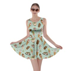 Green Icecream Pattern Skater Dress