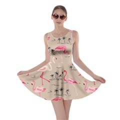 Beige Flamingo Bird Pattern Skater Dress by CoolDesigns