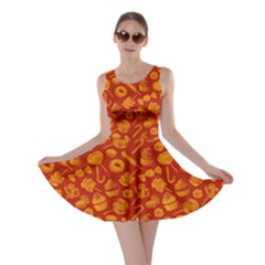 Orange Yummy Colorful Sweet Lollipop Candy Macaroon Cupcake Donut Seamless Skater Dress