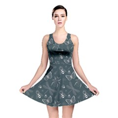 Teal Insect Pattern Reversible Skater Dress  by CoolDesigns