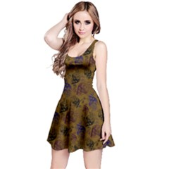 Brown Skull Skull With Flowers Reversible Sleeveless Dress  by CoolDesigns