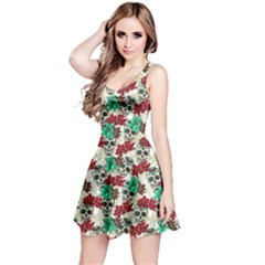 Skull In Mint Skull With Flowers Reversible Sleeveless Dress by CoolDesigns