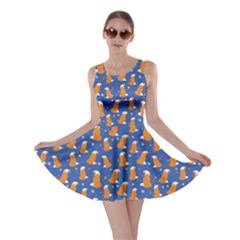 Blue Fox Pattern Skater Dress