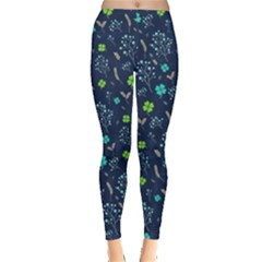 Shamrock Navy Leggings  by CoolDesigns
