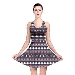 Black Christmas Pattern Pattern Reversible Skater Dress by CoolDesigns