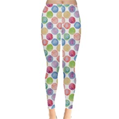 Colorful Watercolour Polka Dot Pattern Leggings by CoolDesigns
