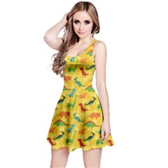 Yellow Cartoon Dinosaur Pattern Sleeveless Skater Dress by CoolDesigns