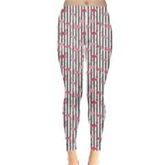 Pink Flamingo Bird Retro Pattern In Leggings by CoolDesigns