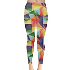 Colorful Triangle Pattern Geometric Abstract Texture Leggings by CoolDesigns