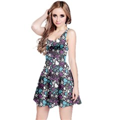 Purple Flowers Skulls And Hearts Pattern Reversible Sleeveless Dress