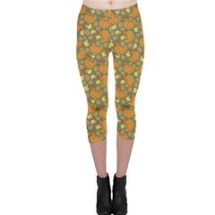 Green Chicken Flat Pattern Capri Leggings by CoolDesigns