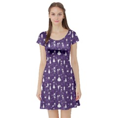 Purple Cat Short Sleeve Skater Dress by CoolDesigns