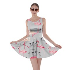 Light Gray Flamingo Bird Pattern Skater Dress by CoolDesigns