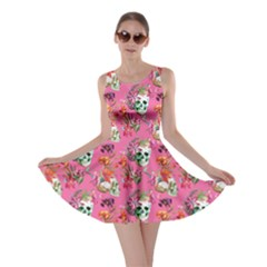 Pink Skull And Flowers Pattern Skater Dress by CoolDesigns