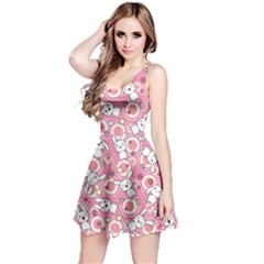 Pink Pattern Doddle Kawaii Sleeveless Skater Dress