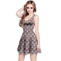 Gray Day Of The Dead Skull Sleeveless Skater Dress by CoolDesigns