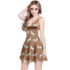 Brown Unicorn Seamless Sleeveless Skater Dress  by CoolDesigns