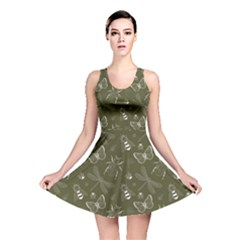 Olive Insect Pattern Reversible Skater Dress