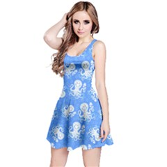 Blue Octopus Short Sleeve Skater Dress  by CoolDesigns