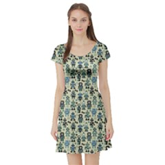 Green Robots Color Pattern Short Sleeve Skater Dress by CoolDesigns