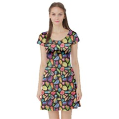 Colorful Colorful Watercolor Gem Pattern Short Sleeve Skater Dress