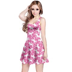 Pink Cute Unicorn Pattern With Stars Sleeveless Skater Dress