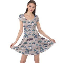 Blue Colorful Mushrooms Pattern Cap Sleeve Dress by CoolDesigns