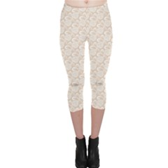 Nude White Retro Roses Lace Pattern On Beige Capri Leggings by CoolDesigns