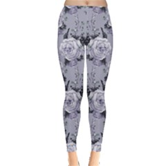 Light Gray Roses Floral Leggings by CoolDesigns