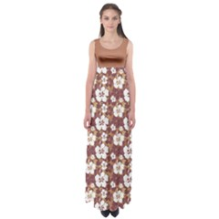 Brown Hawaii Empire Waist Maxi Dress by CoolDesigns