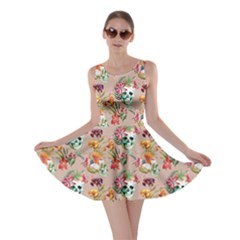 Beige Skull And Flowers Pattern Skater Dress by CoolDesigns