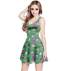 Green Mushrooms Pattern Sleeveless Dress