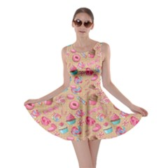 Beige Yummy Colorful Sweet Lollipop Candy Macaroon Cupcake Donut Seamless Skater Dress  by CoolDesigns