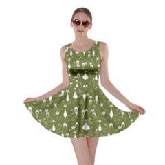 Olive Lovely Cats Pattern Skater Dress by CoolDesigns