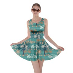 Turquoise Retro Bicycle Pattern Skater Dress by CoolDesigns