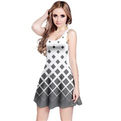 Dark Gray Gradient With Black Rhombuses Sleeveless Skater Dress