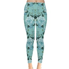 Mint Roses Floral Leggings  by CoolDesigns