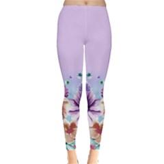 Purple2 Floral Leggings  by CoolDesigns