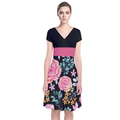Dark Floral 2 Short Sleeve Front Wrap Dress