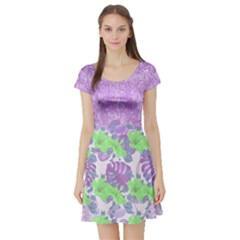 Violet Hawaii Short Sleeve Skater Dress