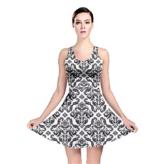 Black Oriental Fine Pattern With Damask Arabesque And Floral Reversible Skater Dress