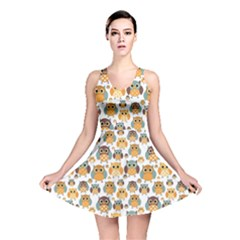 Orange Owl Pattern Reversible Skater Dress by CoolDesigns