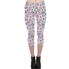 Purple White Pattern Colorful Balls Flowers Polka Dots Capri Leggings by CoolDesigns