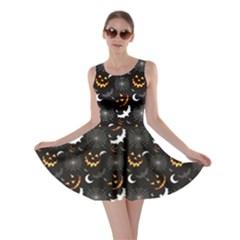 Black Halloween Horror Symbols Pattern Available Skater Dress