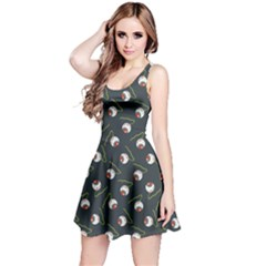 Blue Halloween Eyeball Flat Pattern Sleeveless Skater Dress
