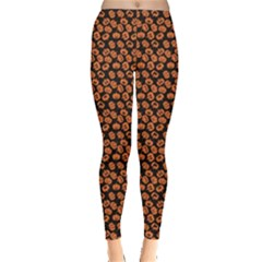 Brown Halloween Pattern With Simple Cute Pumpkins Leggings by CoolDesigns