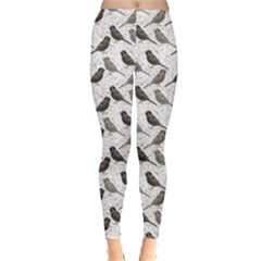 Gray Floral Pattern With Birds Leggings by CoolDesigns