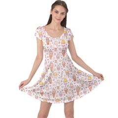 Colorful Yummy Ice Cream Pattern Cap Sleeve Dress by CoolDesigns